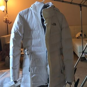 The North Face jacket white with belt worn once
